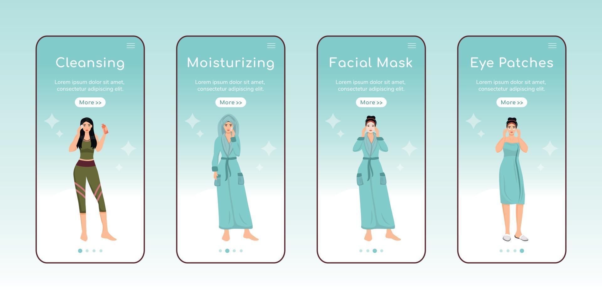 hudvård steg ombord mobilapp skärm platt vektor mall. ansiktsrengöring och återfuktande. genomgång av webbplatssteg med karaktärer. ux, ui, gui smartphone tecknad gränssnitt, set utskrifter