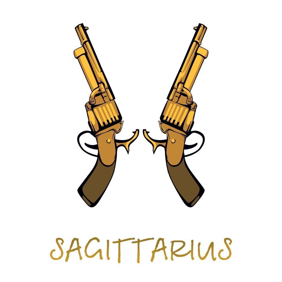 skytten stjärntecken tillbehör platt tecknad vektorillustration. gyllene revolversföremål. astrologiska horoskop himmelska symboler. antika vapen element. isolerad handritad artikel vektor