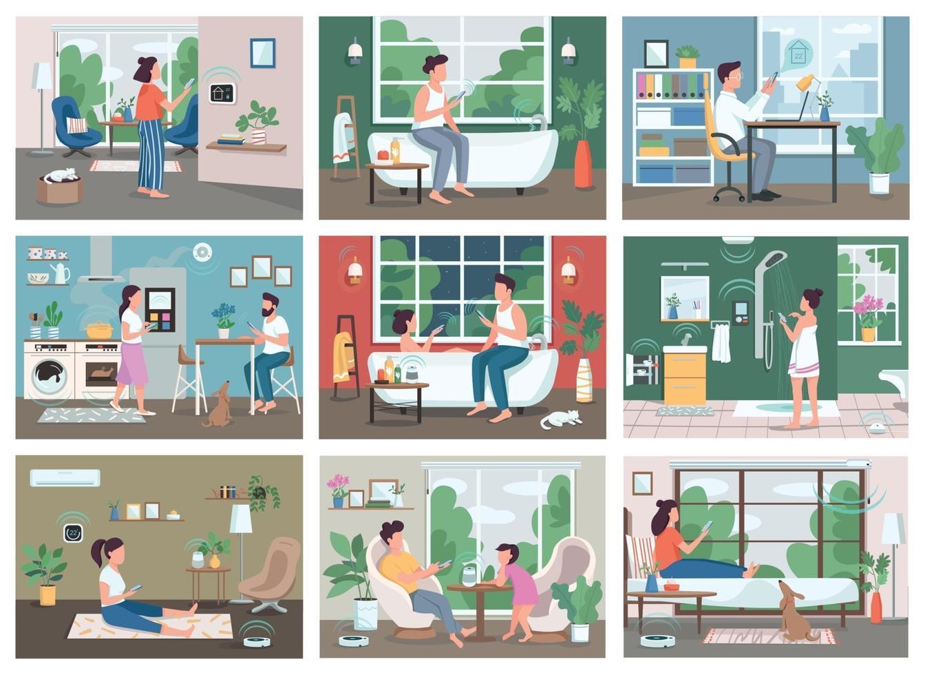 flache Farbvektorillustrationen der Smart Home-Technologie eingestellt. junge Leute mit Smartphones 2d Zeichentrickfiguren. iot, futuristische Innovationen im häuslichen Leben. automatisierte Fernbedienung für Haushaltsgeräte vektor
