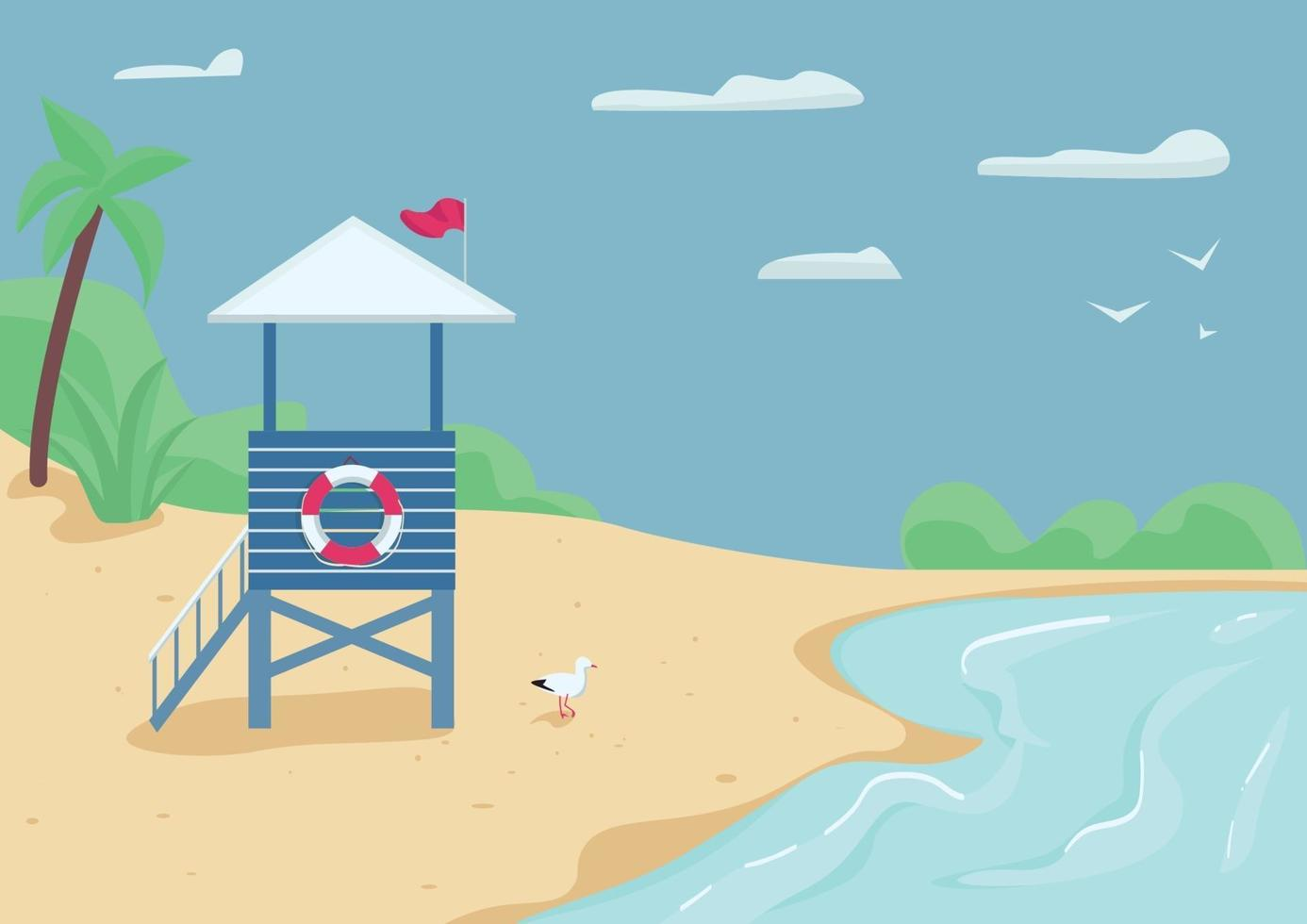 badvakt torn på sandstrand platt färg vektorillustration. räddare byggnad, simning säkerhet. livvakt stå på stranden 2d tecknade landskap med vatten och blå himmel på bakgrunden vektor