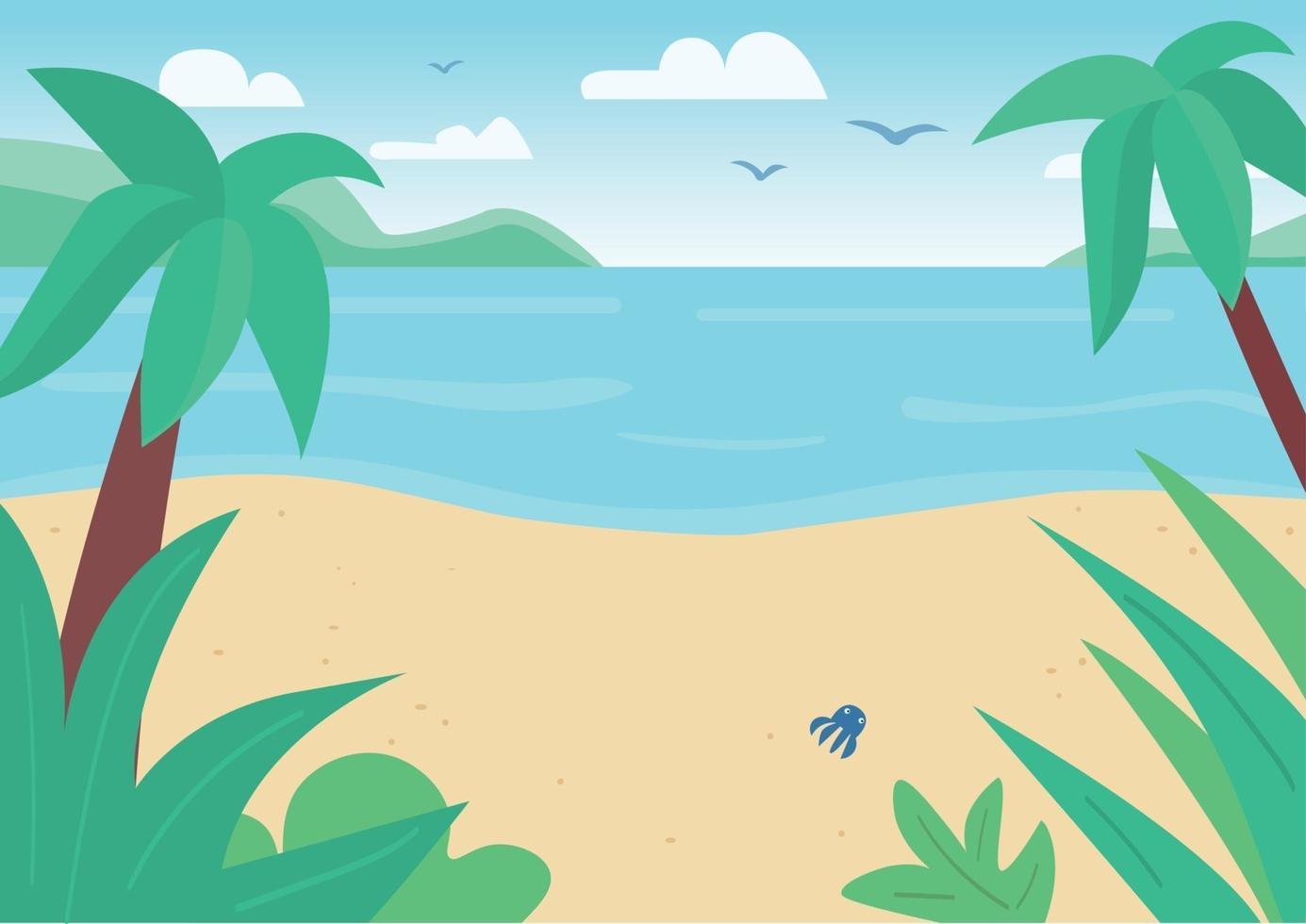 tropisk sandstrand och havet platt färg vektorillustration. marinmålning med palmer och flygande fåglar. exotisk fredlig natur. strand 2d tecknad filmlandskap med lysande sol på bakgrund vektor