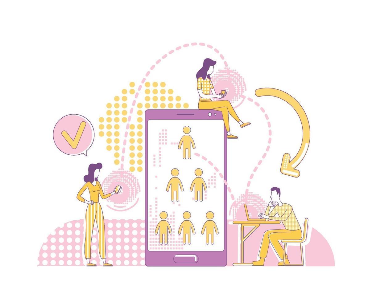 remiss program tunn linje koncept vektorillustration. sociala medier användare 2d seriefigurer för webbdesign. viral reklamstrategi, vänrekommendation, referenser nätverk kreativ idé vektor