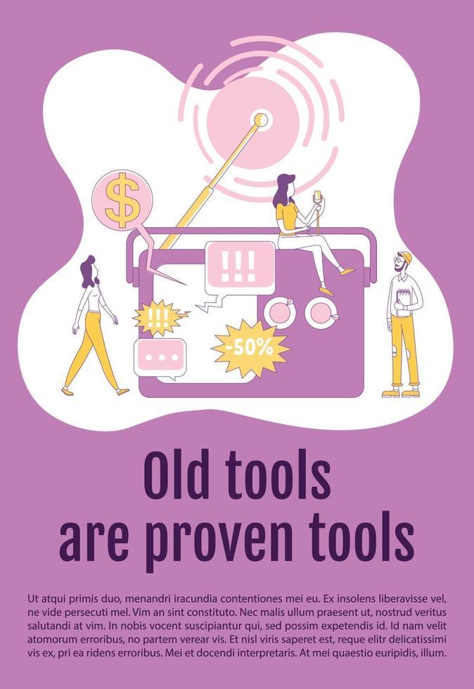 gamla verktyg och beprövade verktyg affisch platt silhuett vektor mall. radio reklam broschyr, häfte en sida konceptdesign med seriefigurer. public broadcast flyer, broschyr med textutrymme