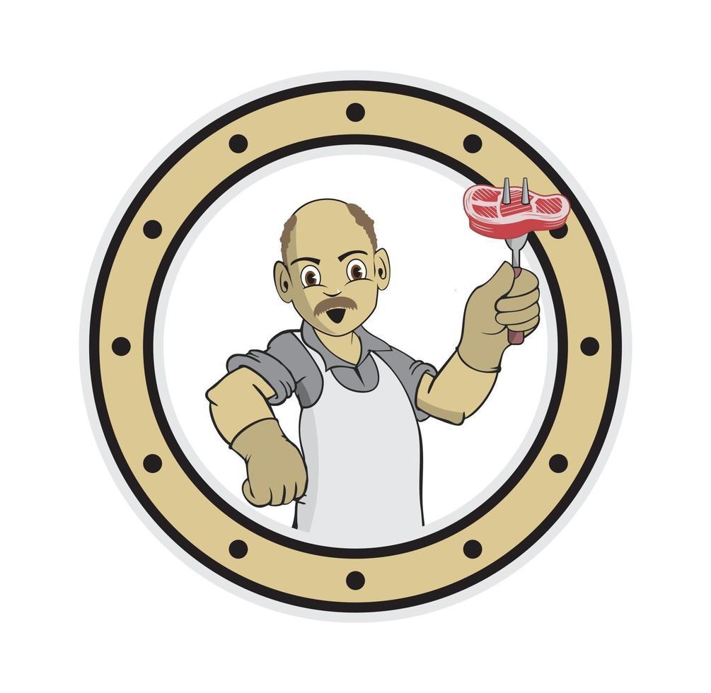 tecknad kock morfar karaktär håller en gaffel och kött vektor