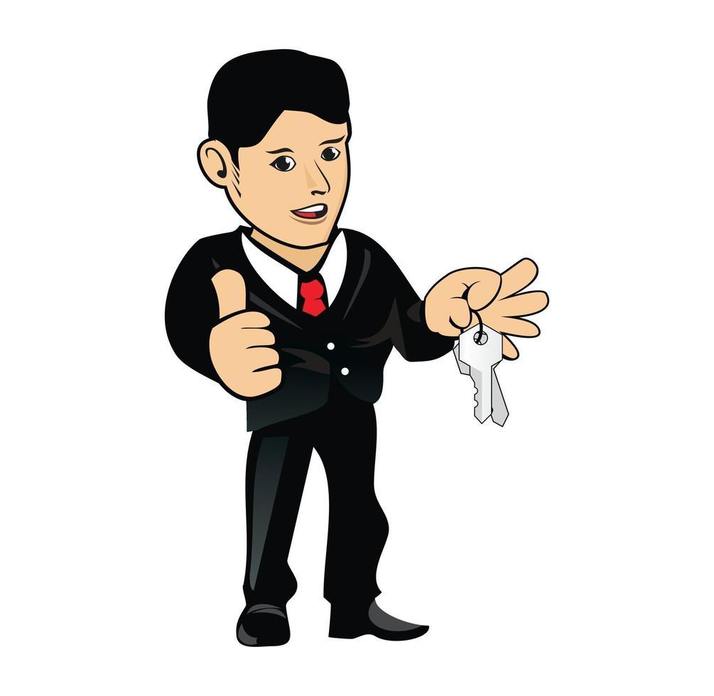 tecknad marknadsföringsman kille karaktär håller nycklar illustration vektor