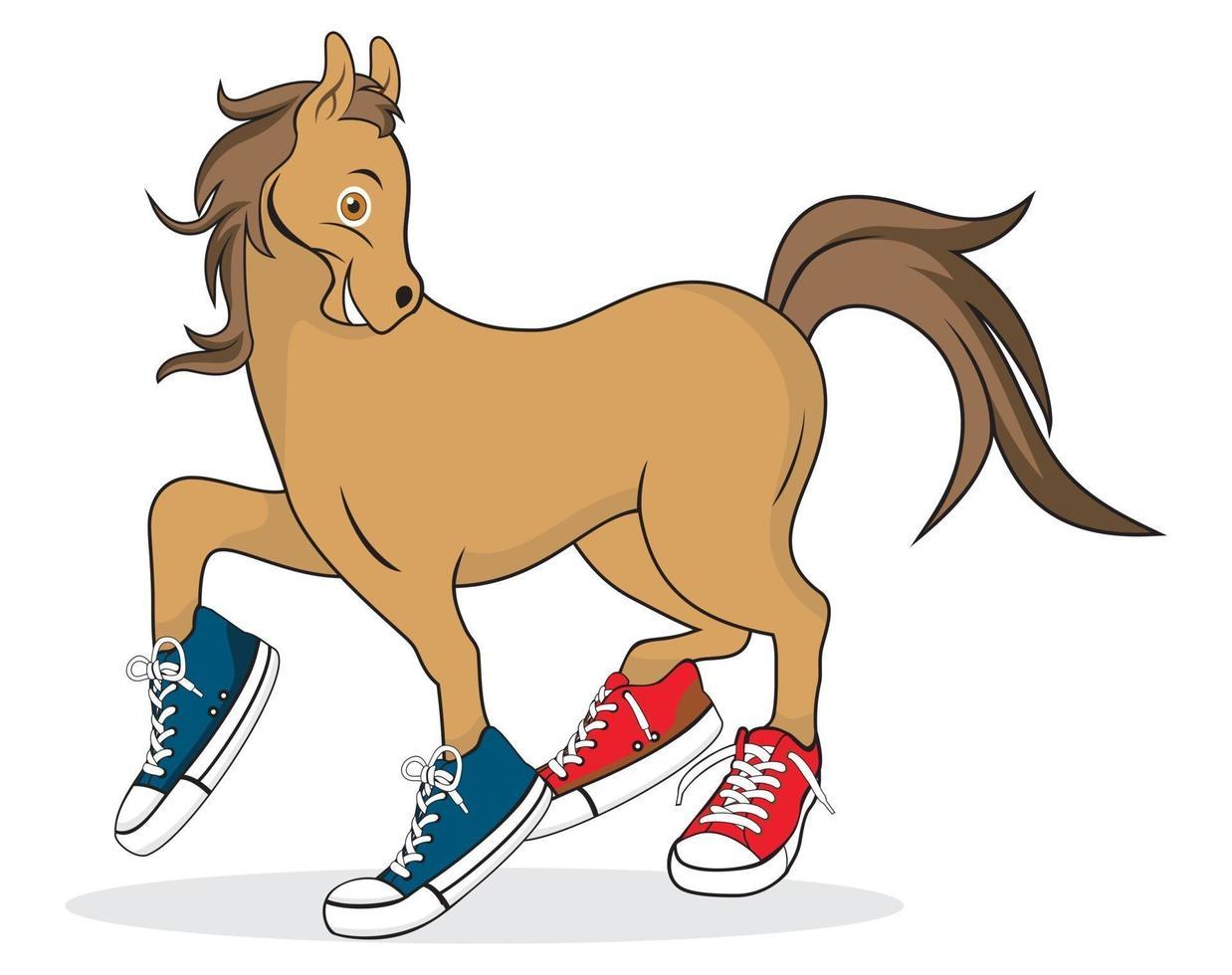 häst tecknad bär skor karaktär illustration vektor