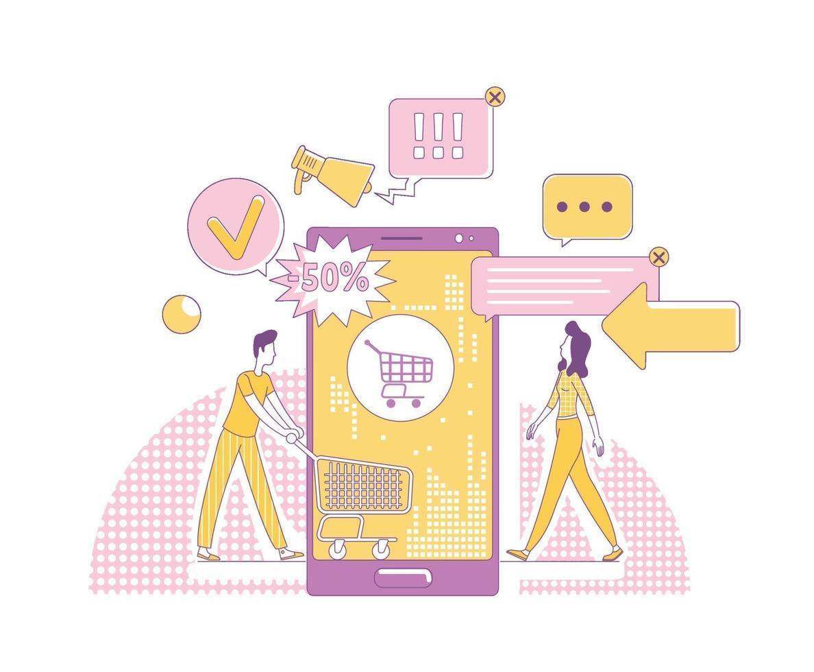 mobil marknadsföring tunn linje koncept vektorillustration. kunder 2d seriefigurer för webbdesign. Internetreklamverksamhet, online shoppingteknik, försäljningsreklam kreativ idé vektor