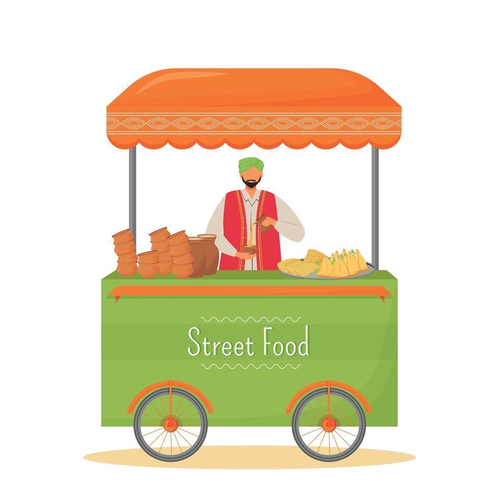 street food säljare platt färg vektor ansiktslös karaktär. indisk traditionell matkiosk, snabbmatstjänst isolerad tecknad illustration för webbgrafisk design och animering