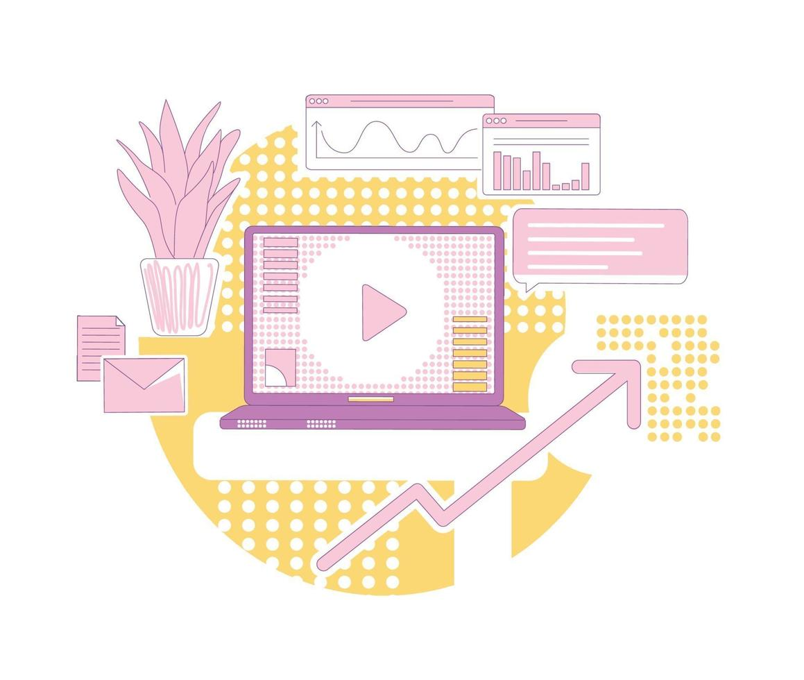 Inhaltsmarketing dünne Linie Konzept Vektor-Illustration. moderne Werbegeschäft 2d Cartoon-Komposition für Webdesign. Online-Werbung, Kundenstammentwicklung, kreative Idee für Umsatzwachstum vektor