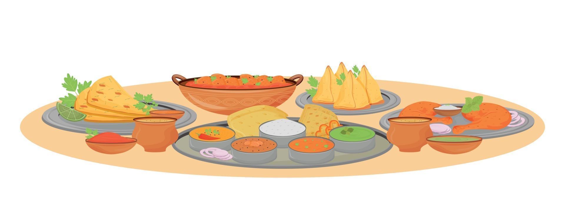 indiska rätter som serverar tecknad vektorillustration. traditionella rätter och kryddiga såser i thali-plattfärgobjekt. indisk restaurangmat, serverad bordsyta isolerad på vit bakgrund vektor