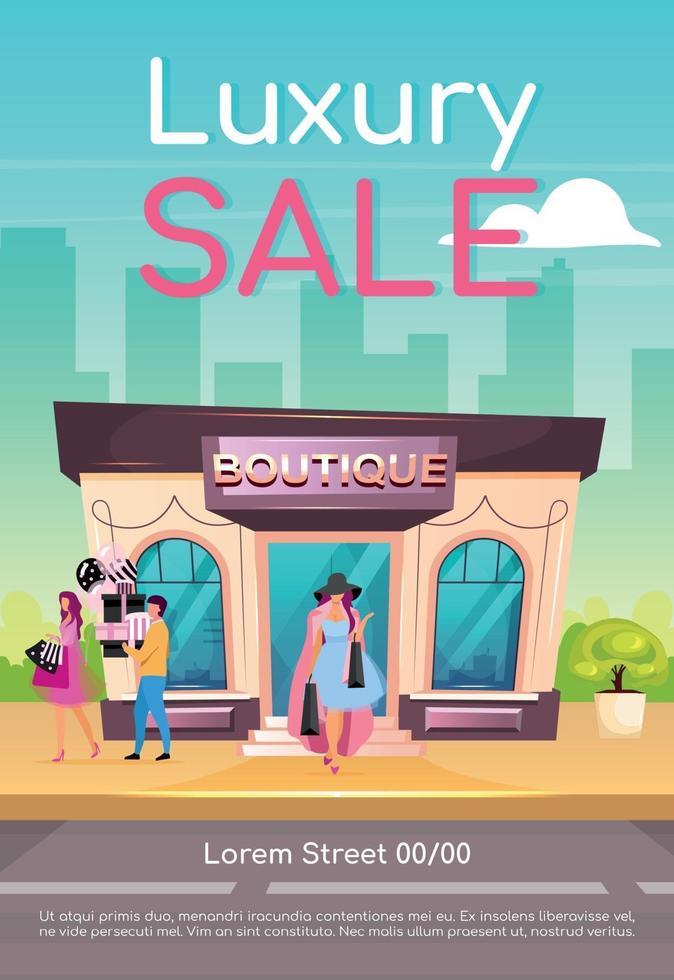 lyx försäljning affisch platt vektor mall. köpa kläder med rabatt. köp kvalitetsplagg. broschyr, häfte en sida konceptdesign med seriefigurer. premium boutique flyer, broschyr