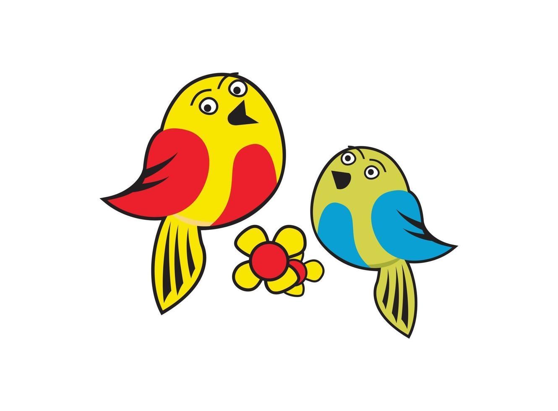 tecknad karaktär söta fåglar design illustration vektor