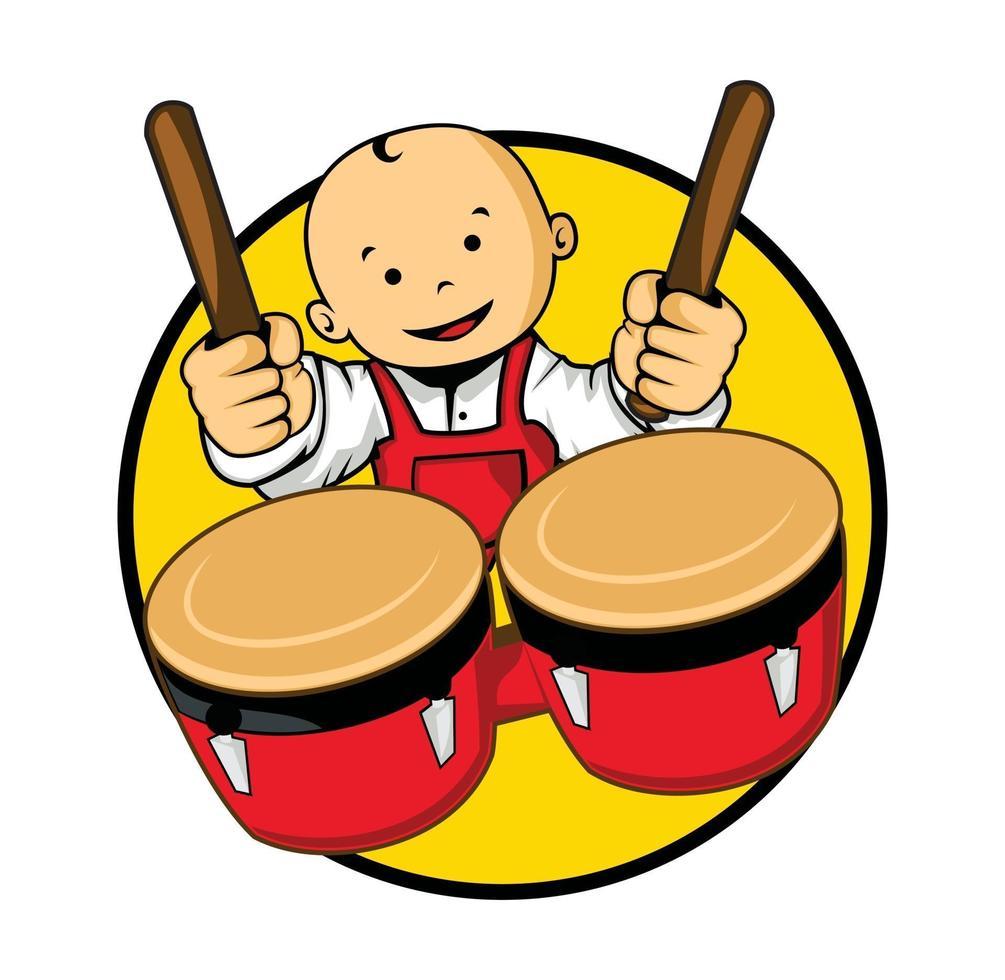 tecknad baby karaktär spelar trummor illustration vektor