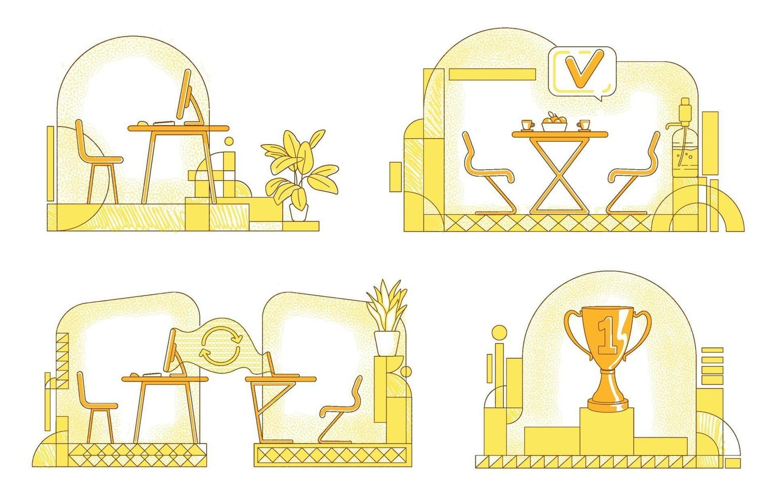Geschäftsbüro flache Silhouette Vektor-Illustrationen gesetzt. Konturkomposition des Unternehmensarbeitsbereichs auf gelbem Hintergrund. persönlicher und abgelegener Arbeitsplatz, Loungezone, Sockel-Zeichnungspaket im einfachen Stil vektor