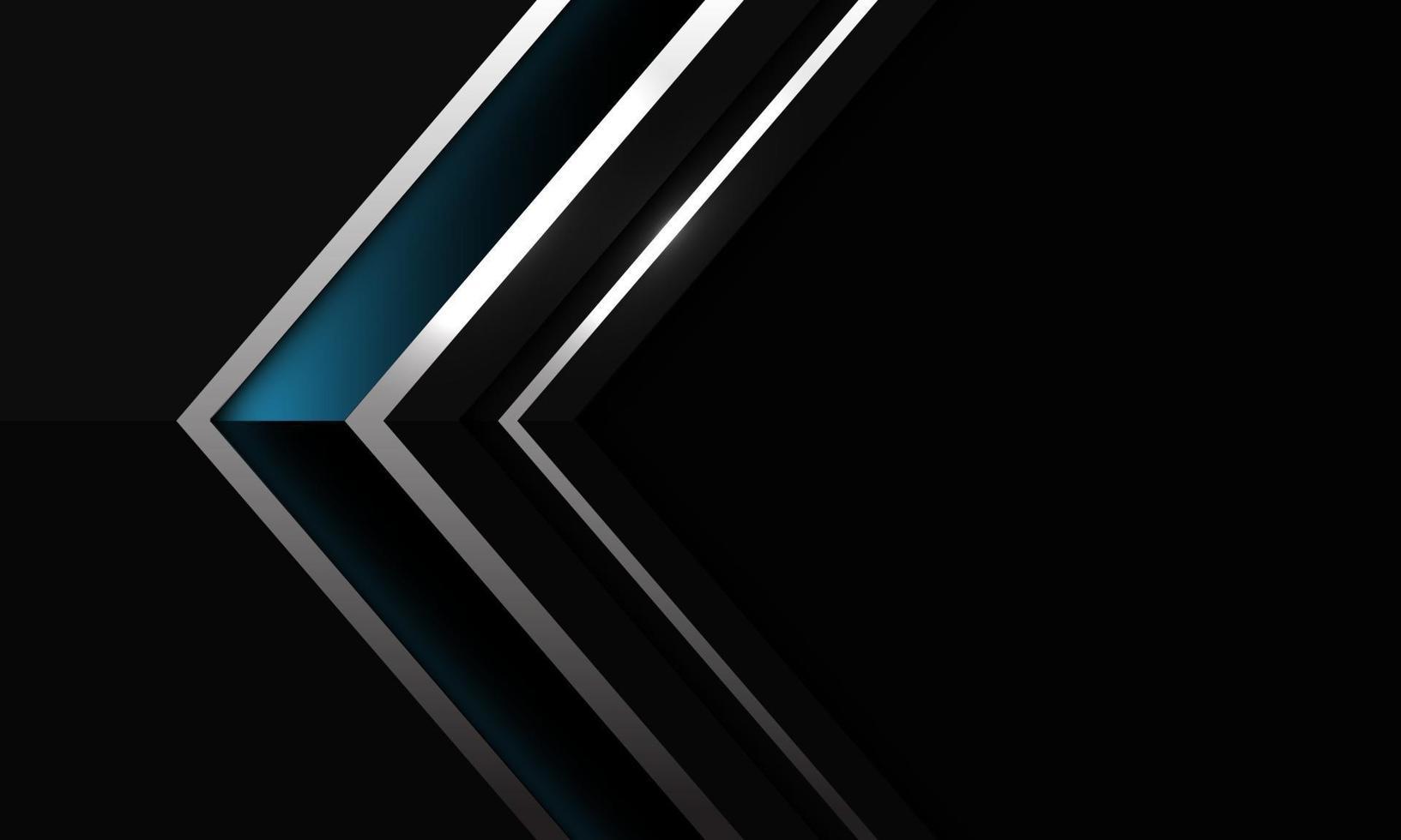 abstrakt mörkblå blank silverlinje pil skuggriktning på svart med tomt utrymme design modern futuristisk bakgrundsvektorillustration. vektor