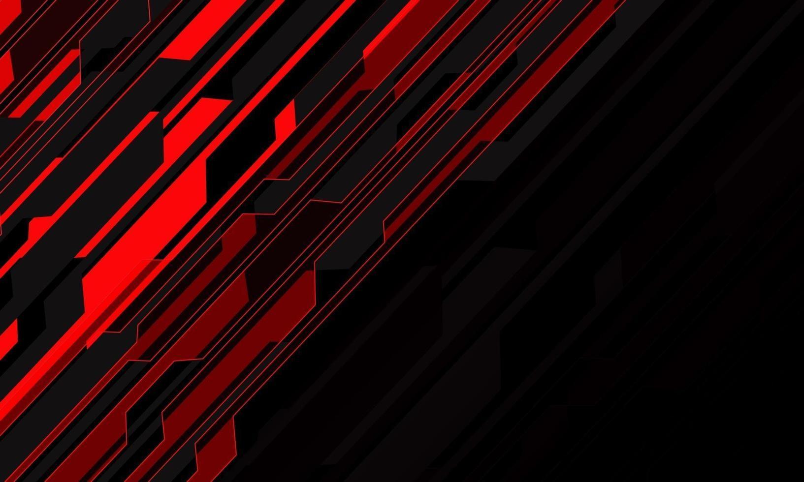 abstrakt rött ljus krets cyber snedstreck på svart tomt utrymme design modern futuristisk teknik bakgrund vektorillustration. vektor