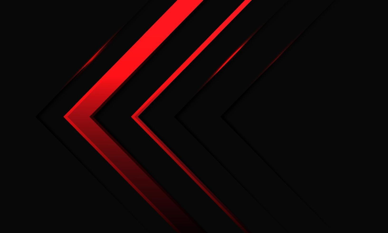 abstrakt röd pil neonljusriktning på svart metallisk design modern futuristisk bakgrundsvektorillustration. vektor