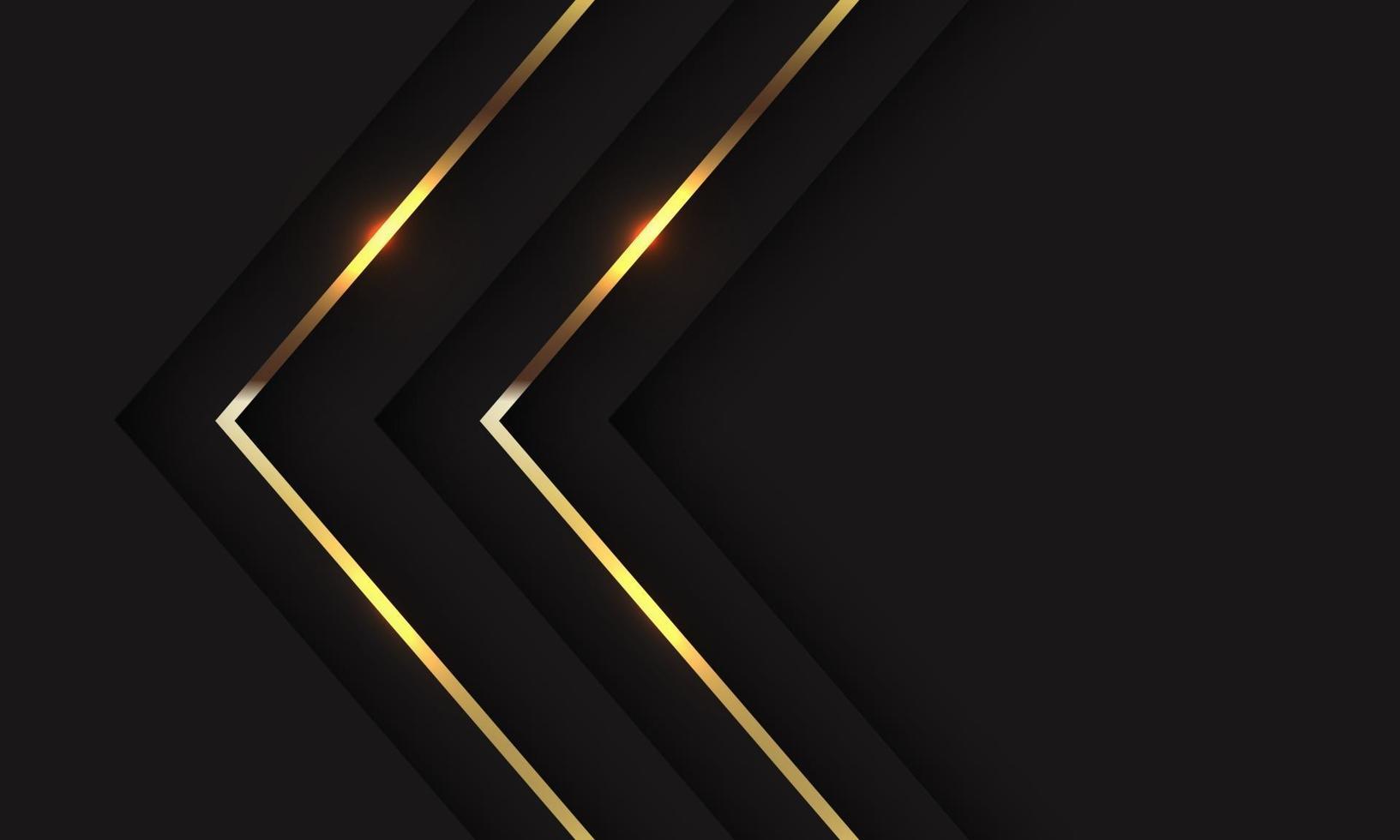 abstrakt tvillingguldskuggpilriktning på svart med tomrumsdesign modern lyx futuristisk bakgrundsvektorillustration. vektor