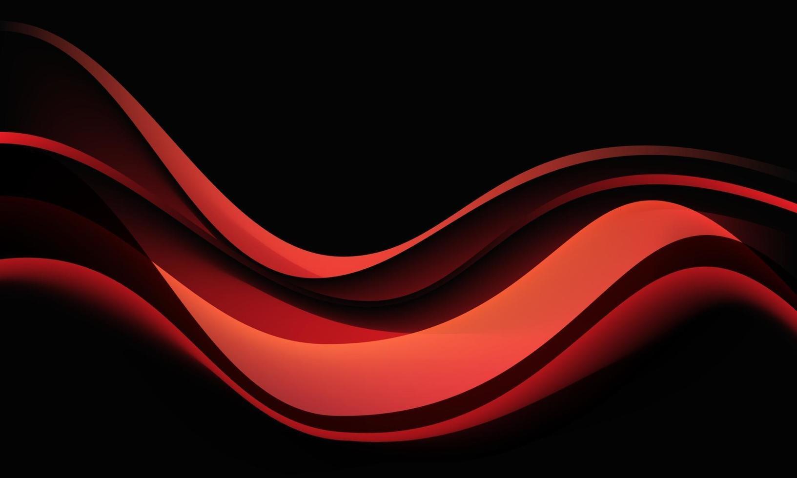 abstrakt röd vågkurva skugga dynamisk på svart bakgrund vektorillustration. vektor
