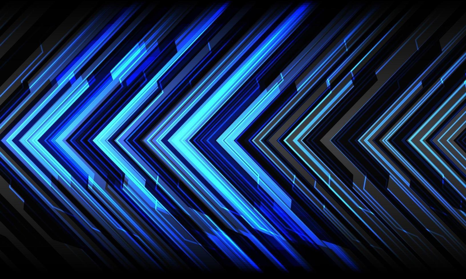 abstrakte blaue Pfeillicht Cyber geometrische Technologie futuristische Richtung auf grauem Design moderne Hintergrundvektorillustration. vektor