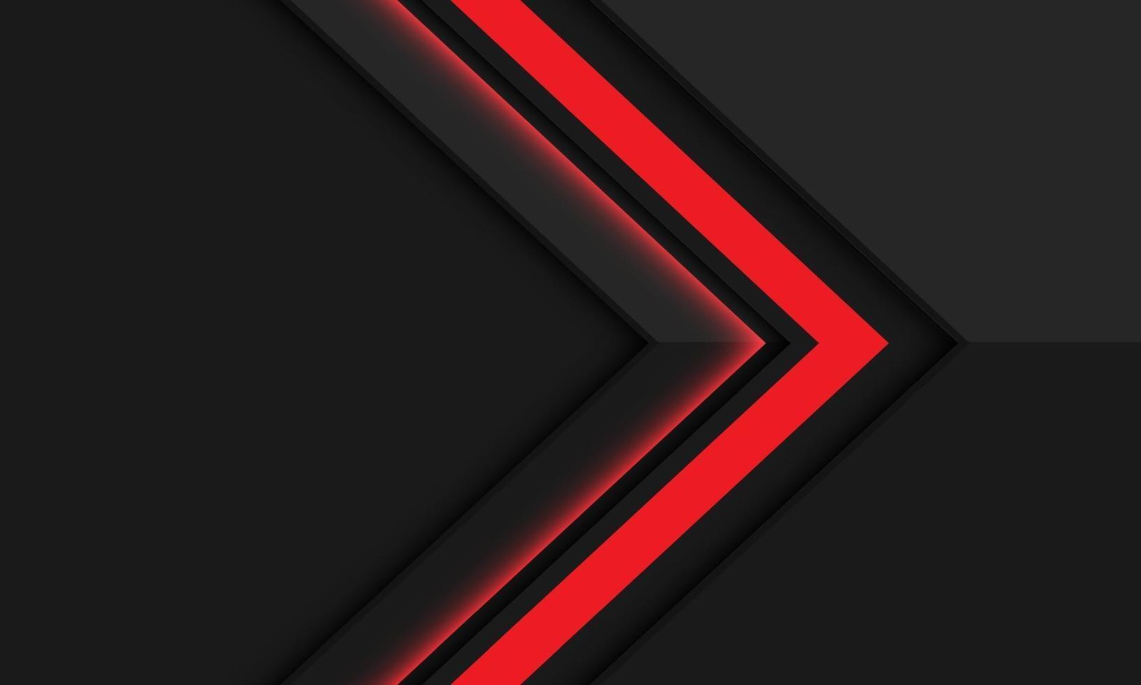 abstrakt röd pilskuggriktning på mörkgrå metallisk med tomrumsdesign modern futuristisk bakgrundsvektorillustration. vektor