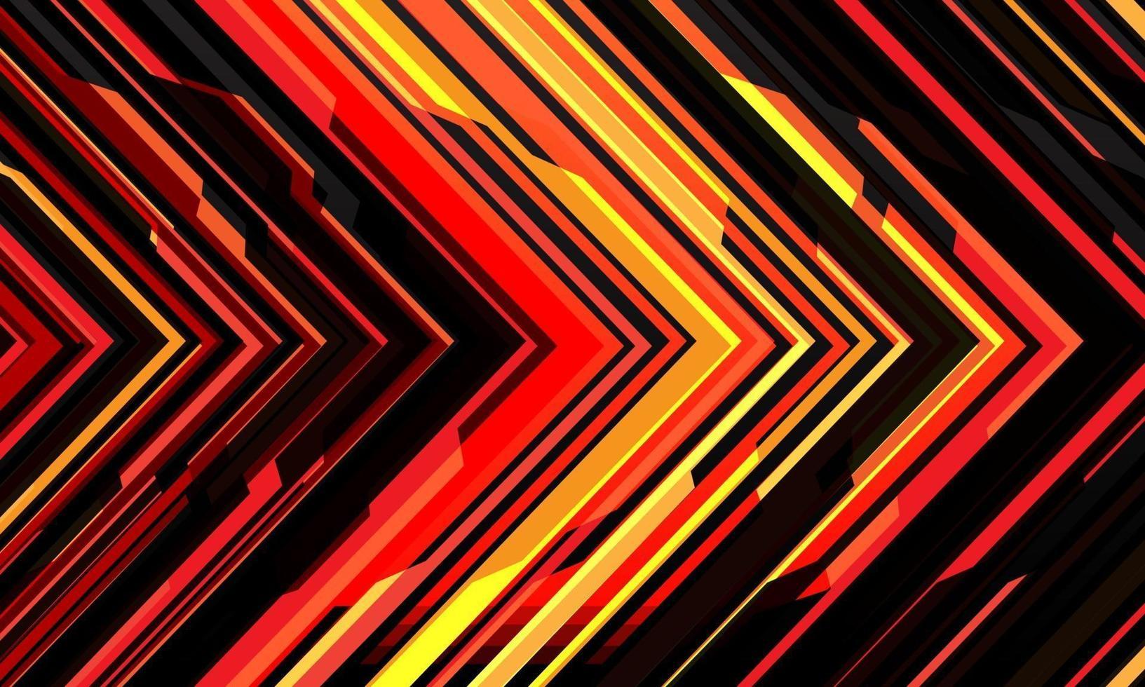abstrakt röd gul svart pil ljus cyber geometrisk teknik futuristisk riktning design modern bakgrund vektorillustration. vektor