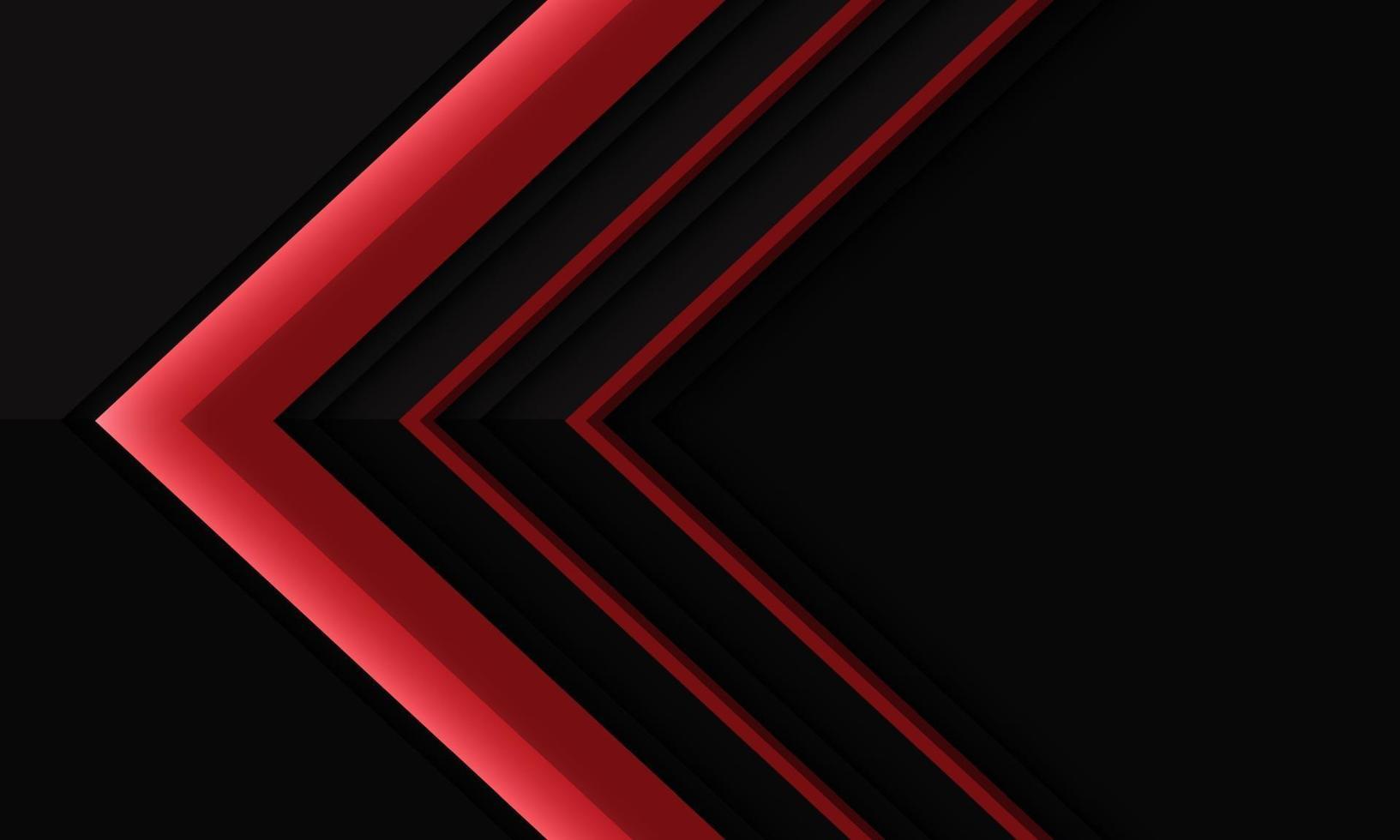 abstrakt röd pilriktning på svart metallisk skugga med tomrumsdesign modern futuristisk bakgrundsvektorillustration. vektor