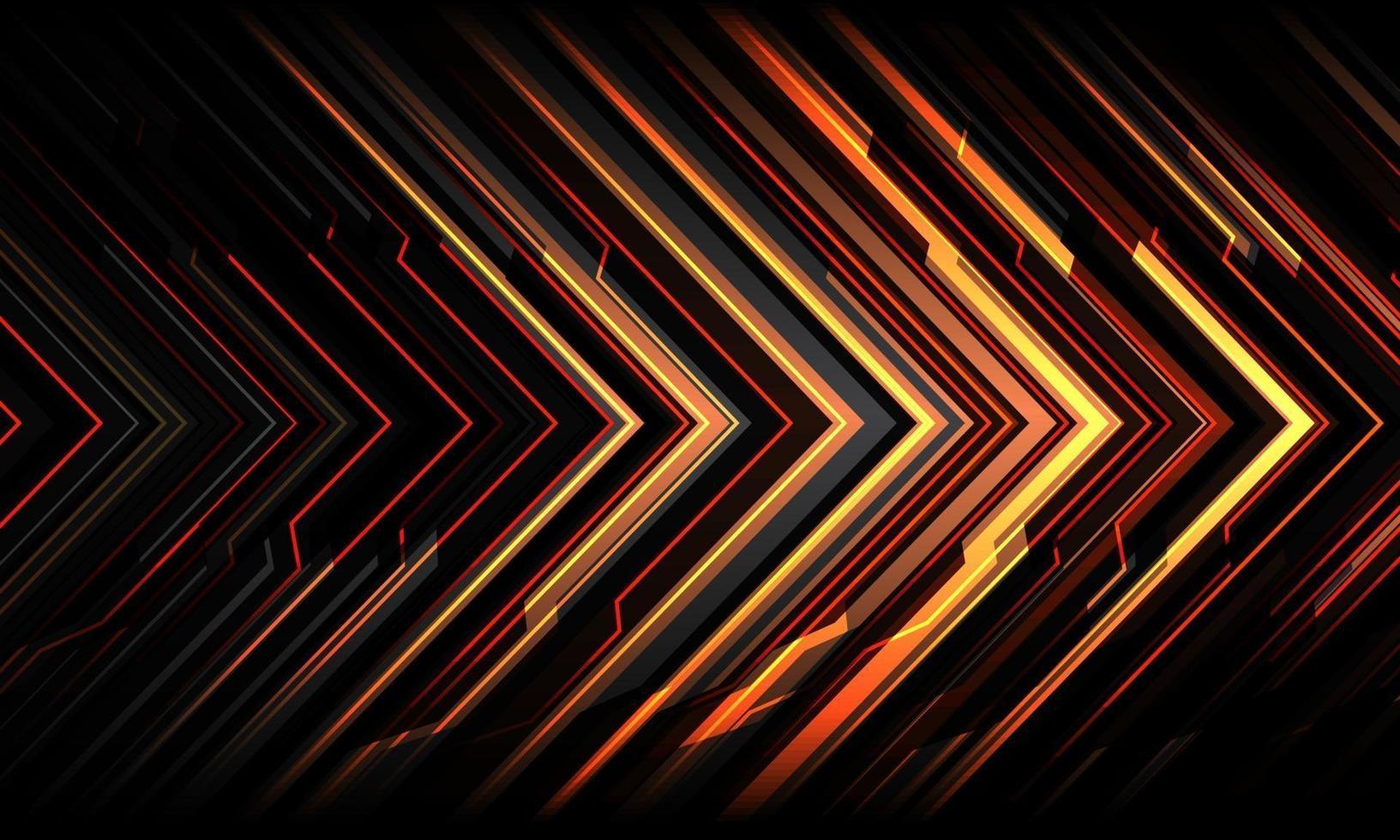 abstrakt röd gul svart pil linje krets ljus cyber geometrisk teknik futuristisk riktning design modern bakgrund vektorillustration. vektor