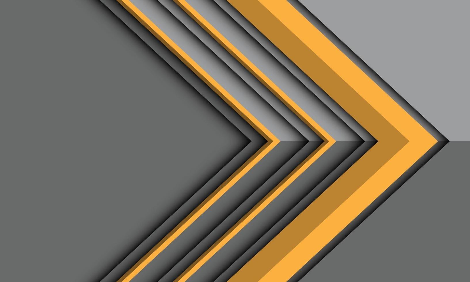 abstrakt gul pilriktning på grå metallisk skugga med tomt utrymme design modern futuristisk bakgrundsvektorillustration. vektor
