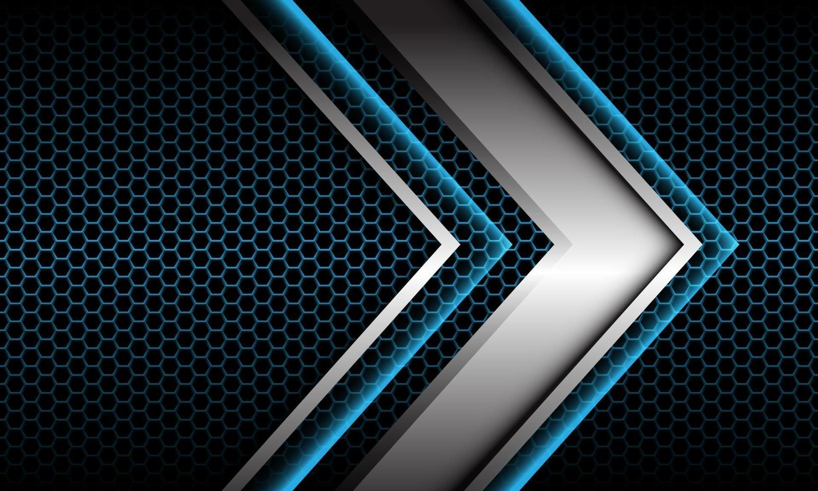 abstrakt silver pil skugga metallisk riktning geometrisk på blå hexagon mesh mönster design modern futuristisk bakgrund vektorillustration. vektor
