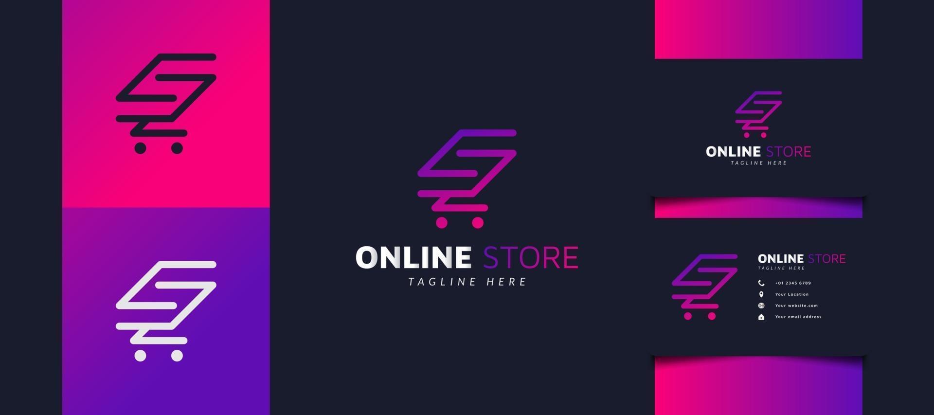 Online-Shop-Logo-Design mit Warenkorb als Initiale in buntem Farbverlauf, verwendbar für Geschäfts- oder Geschäftslogos vektor
