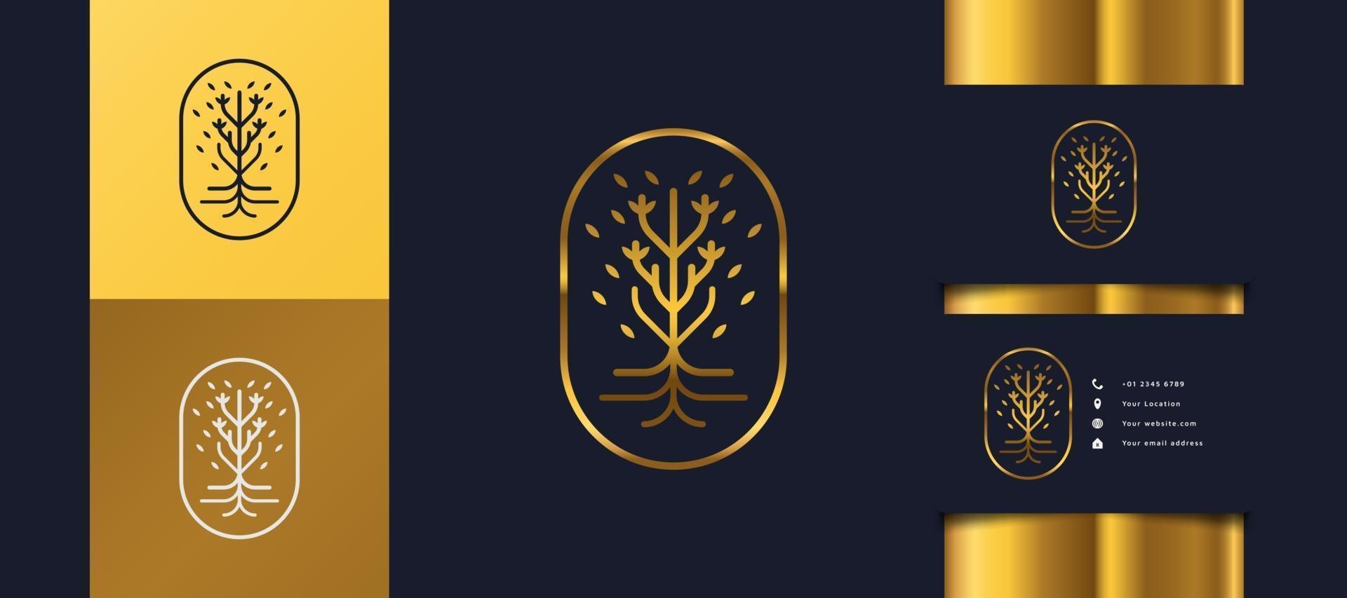 lyxig gyllene trädlogotyp med lövverk i en cirkel, kan användas för hotell-, spa-, skönhets- eller fastighetslogotyper vektor