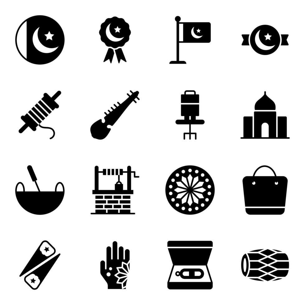 pakistanska kultur- och festivaler element ikonuppsättning vektor