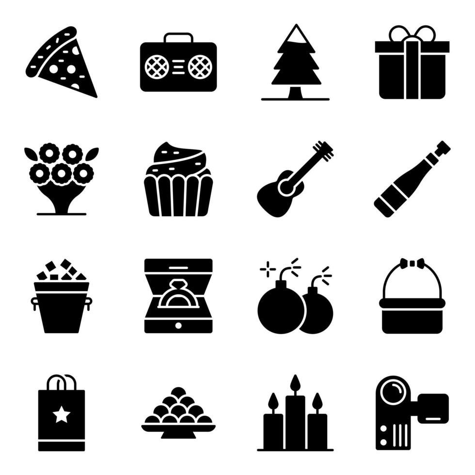 fest- och evenemangstillbehör ikonuppsättning vektor
