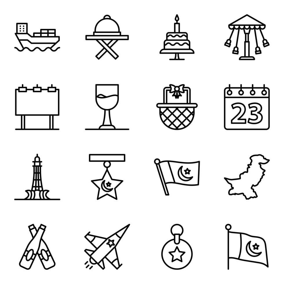 pakistanska kulturella och evenemang element ikonuppsättning vektor