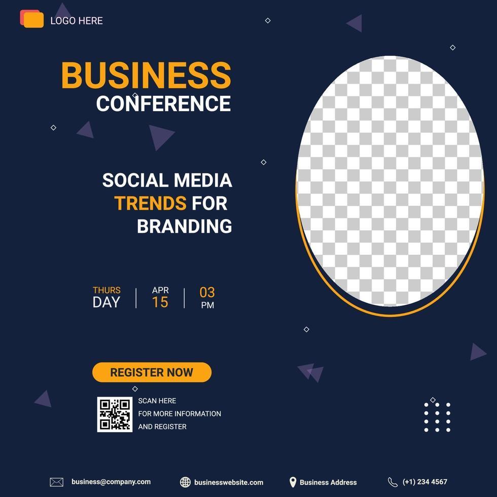 sociala medier postmall. banner marknadsföring. affärskonferens sociala medier trend för branding vektor
