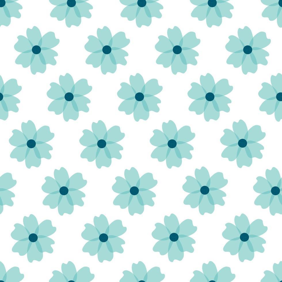 blommönster. vackra blommor på vit bakgrund. tryck med små blå blommor. ditsy tryck. sömlös vektor konsistens. söta blommönster. elegant mall för fashionabla skrivare