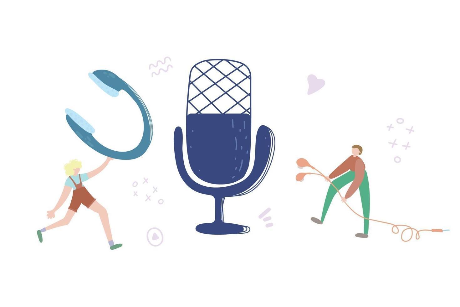 audiochat koncept, podcast show handritad platt vektorillustration. man med hörlurar och mikrofontecknad karaktär. internetradiosändning, abstrakt begrepp för multimediaunderhållning vektor