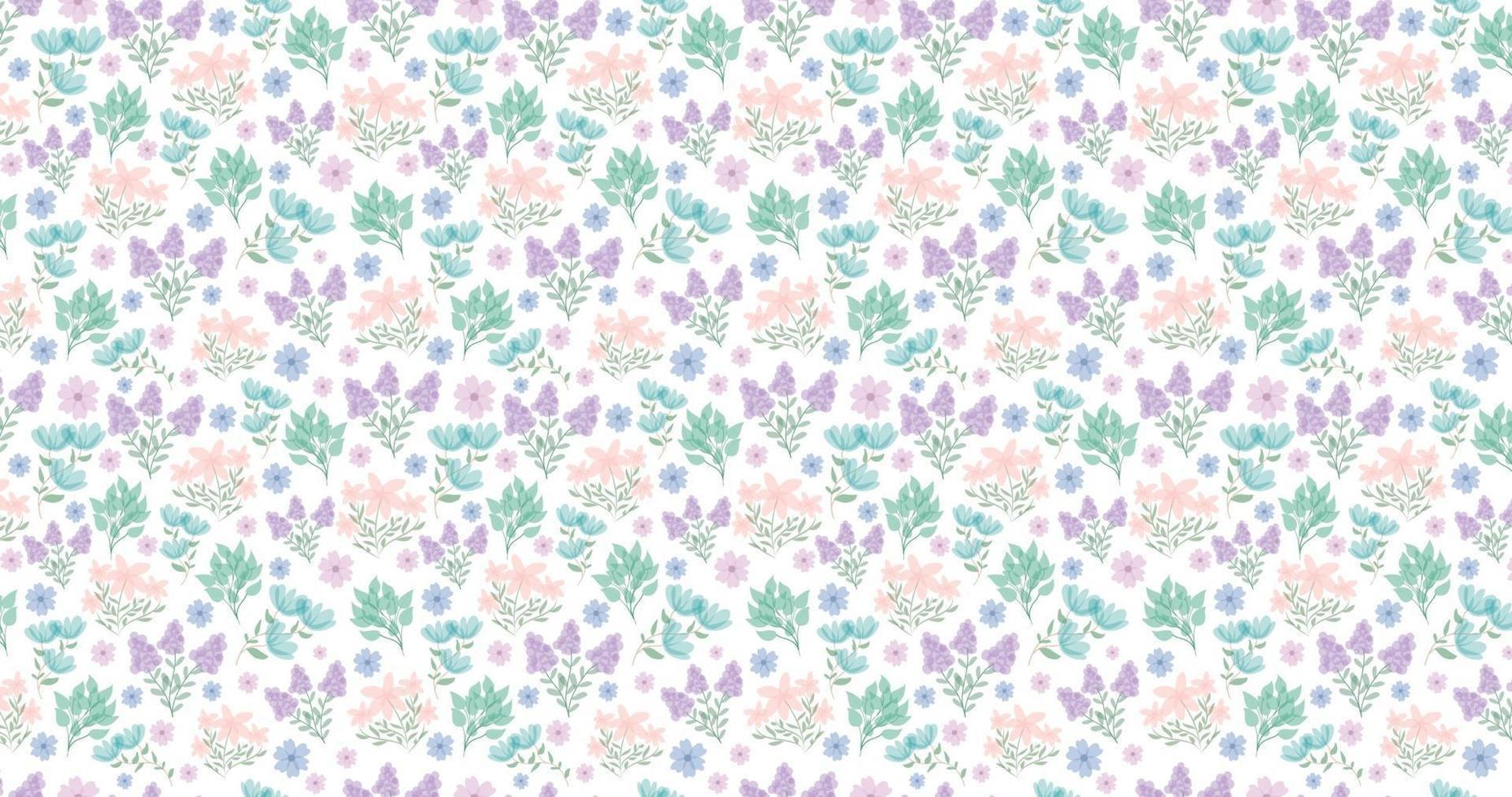 söt blommig bakgrund. ganska små blommor på vit bakgrund. små rosa, lila, blå blommor. vårblommor. sommarblommor. vektor