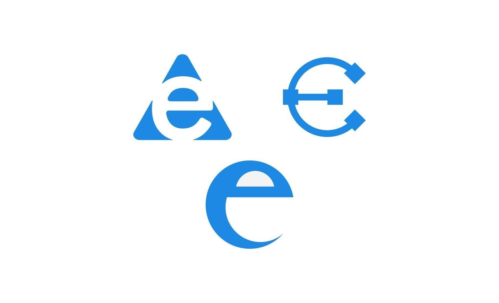 första e-logotypen designmallvektor vektor