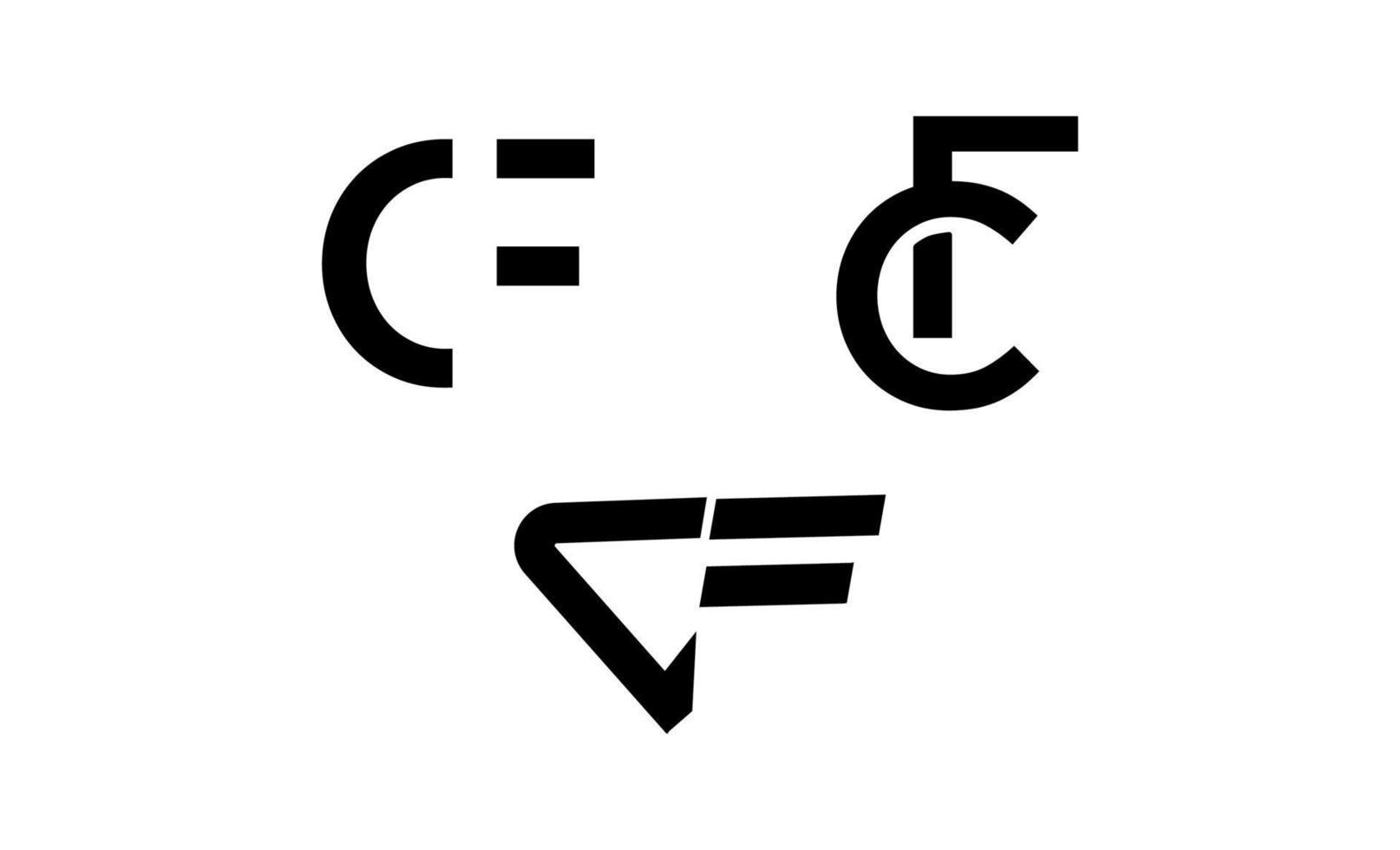 initial cf, c, f elegant logo design vektor
