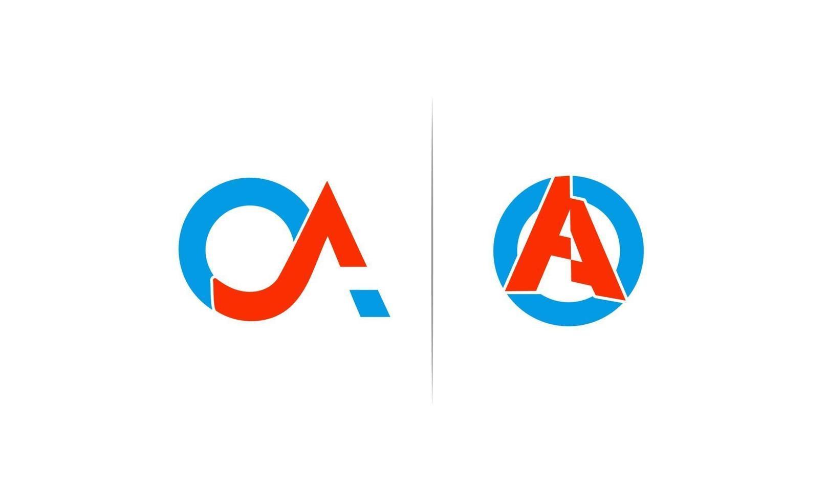 initial oa, o, en kreativ logotyp mall design vektor