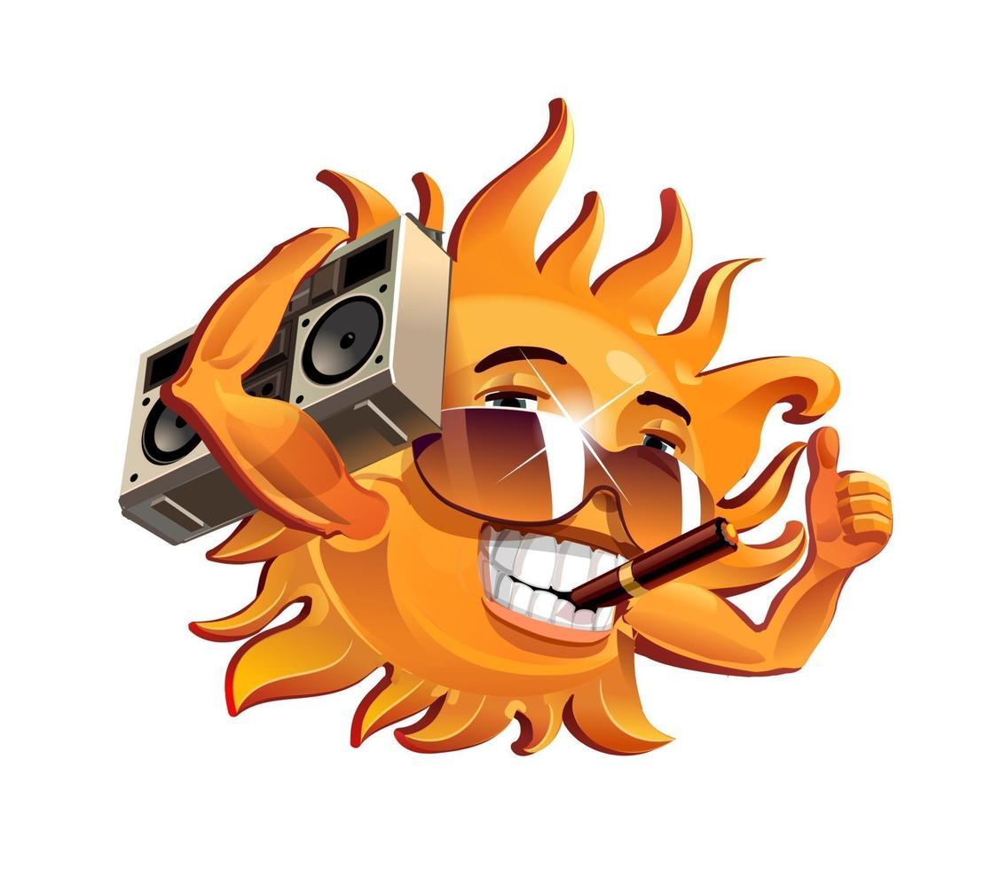 die lustige Sonne, raucht eine Zigarre und hört auf das Tonbandgerät. Vektorillustration vektor