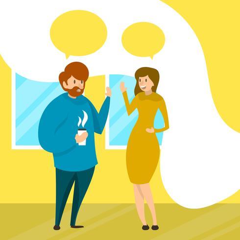 Plana Människor Pratar I Företag Team Arbete Med Modern Office Bakgrund Vector Illustration