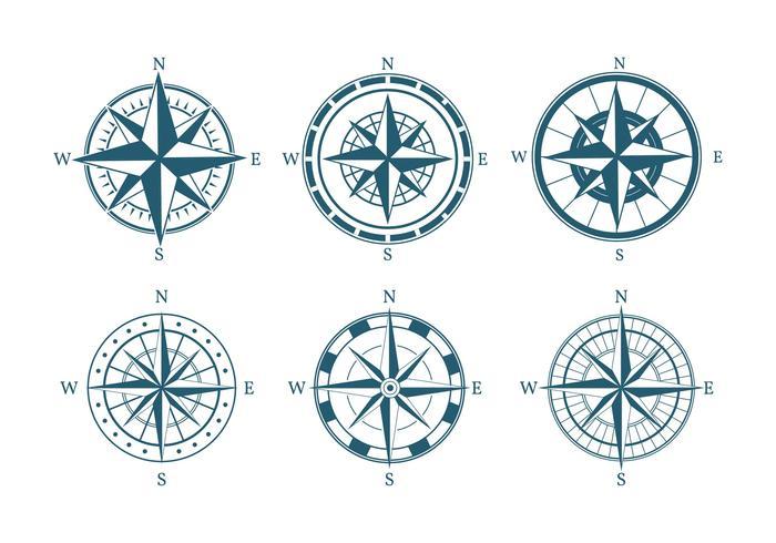 Kompass Icon Set Vektor