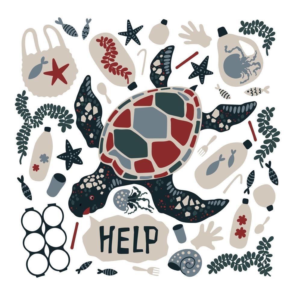 vektor platt handritad sköldpadda omgiven av marin skräp och avfall.