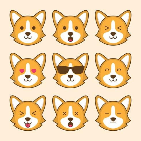 Söt Corgi Hund Emoticon vektor