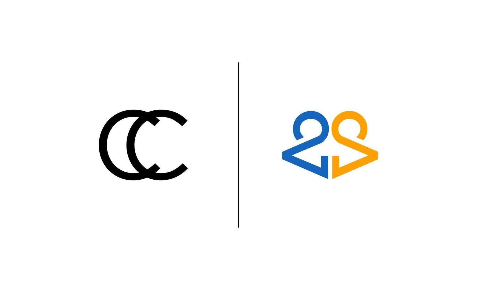 initial cc logo design mall vektor