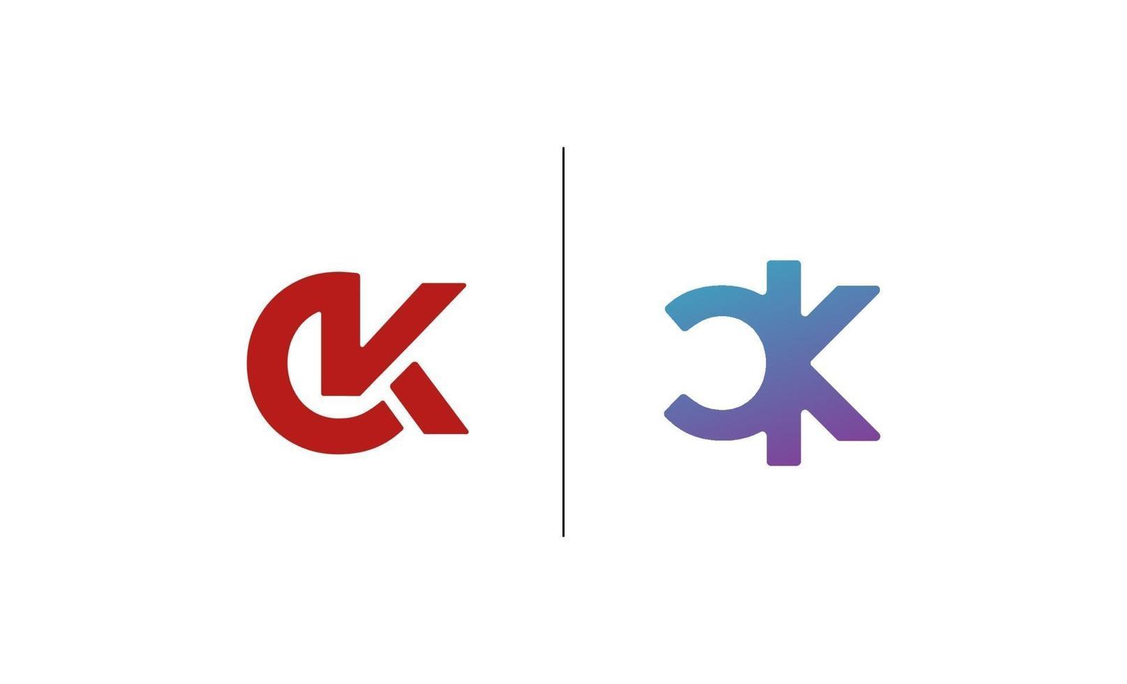 initial ck, kc logo design mall vektor