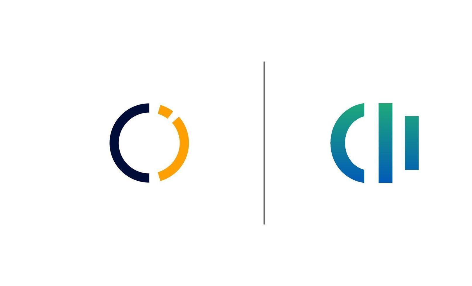 initial ci, ic logo design mall vektor